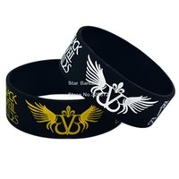 angels wristbands - Hot Sell PC quot Wide Black Veil Brides With Angel Wings Silicone Wristband Bracelet For Music Fans Adult Size