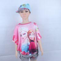 Wholesale Years old Cotton Loose Princess Elsa Cartoon shirt Short Sleeve Batwing Sleeve Summer Printed