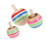 Wholesale 3pcs Sizes Wooden Colorful Spinning Top Toy for Children Above Years Old Z169