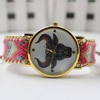 Wholesale 2015 The Bull Pattern Women rope bracelet watch fashion design dress weave wool bands quartz wrist watch Lady Style Watches