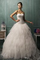 Wholesale Amelia Bella Strapless Wedding Dresses Ball Gown Applique Pleats Tiers Lace up Back Cathedral Train Tulle Bridal Dress