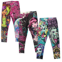 Wholesale 201505 Monster High Girls Leggings Zombie Girl Cartoon Kids Legging Pants Clothing Y Y