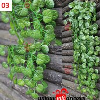Wholesale Green Artificial Hanging ApScindapsus aureusple Begonia Leaves Home Decorations PE New Beautiful W4757
