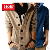 Wholesale 2015 Fashion New Men s Cardigan sweater jackets Wool blend Thicken Slim fit knitted sweaters men s clothing for autumn winter tk1267