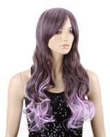 Cheap Cool2day Heat Resistant Purple Ombre U Part Cosplay Hair Party Full Wigs+Free Wig Cap