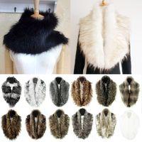 Wholesale Hot Sales Women Lady Winter Warm Shrug Faux Rabbit Fur Fluffy Collar Wrap Warmers Scarf Ring Neck Shawl Dx96