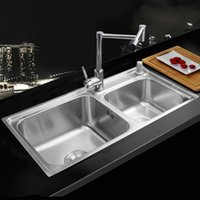 Wholesale Ross Kitchen Stainless Steel Sink Pia da cozinha Vessel Kitchen Washing Dishes Double Bowl SS With Brass Swivel Faucet