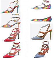 Women Stiletto Heel Genuine Leather Stiletto sandals Shoes 2015 New Tip Genuine Leather Rainbow mixed colors T with rivets Fine with single shoes Joker sandals Genuine Leather