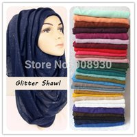 Wholesale Plain Glitter Sparkle Hijab Maxi Shimmer Shawl Women Scarves