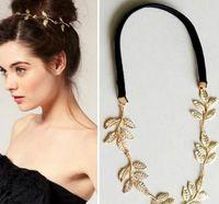 Wholesale UK Big Girls Trendy Five Leaf Elastic Hair Bands All Match Lady Olive Branch Pattern Headbands Women Headwrap Golden Hair Jewelry I2159