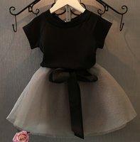 Cheap Girls Clothes 2015 Summer Kids Clothing Sets Girl Casual Short Sleeve Black T-shirts Children Lovely Bow Shorts Short Skirt Skirts I4046