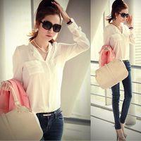 Regular Polyester Solid fashion loose women chiffon blouse summer 2015 white black women's tops long sleeve shirts blusa de renda women's clothing YW985