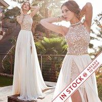 Wholesale Plus Size Wedding Dresses Romantic Ivory Lace Vestido de Noiva A line Beaded Halter Sexy Backless High Low Wedding Dress Beach Chiffon