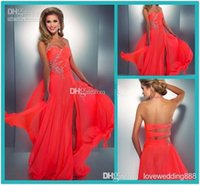 Wholesale Low Cut Red Prom Dress - 2015 Coral Colored Prom Dresses Crystal Embellished Halter Slit Chiffon Bright Hot Pink Prom Dress Sexy Low Back Cut Out Neon Coral Gown