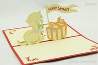 Cheap Free shipping Lovely cat box greeting cards children's day gifts lovely birthday stereo handmade cards