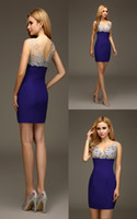 semi formal dress - Royal Blue Short Mini Sheath Homecoming Party Dresses Sparkly Beaded Crystals Tight Short Prom Dresses Semi Formal cd9989