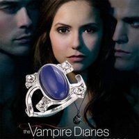 Wholesale 2015 New Arrival Vampire Diaries Elena Anti sun Blue Retro Rings crystal cat s eye diamond ring For Women best Gifts