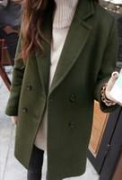 Wholesale New Fashion Women Wool Coat Autumn Winter Medium Long Trench Coats Ladies Warm Casual Woolen coats red black Wool amp