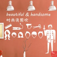 bedroom decoration images - Blow Dry hair styling image design barber shop window decoration stickers Haircare glass door wall stickers