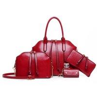 Wholesale 2015 Hot Newest Wax oiled Genuine Leather Women Handbag Shoulder Crossbody Bag For Ladies Handbag Messenger Bag Purse Wallet Sets
