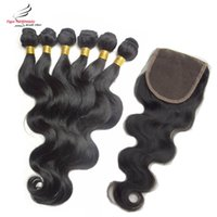 Wholesale Malaysian Virgin Remy Hair Weft with Closure Body Wave Human Hair and Closure Malaysian Body Wave with Lace Closure Way Design