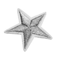 Wholesale Excellent quality Mini silver Metallic Iron Star Embroidered Applique Ironing Clothes Patch Decoration