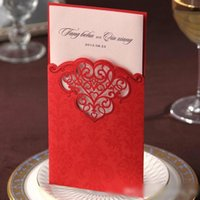Cheap 2016 Classic Red Hollow Pattern Wedding Invitations Cards with Envelopes and Seal, Printable Wedding Supplies Hollow Party Cards MYF2002