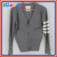 Wholesale new thom sweater Autumn winterstriped simple classic the way men amp women multicolored stripe cardigan V neck ribbon lover
