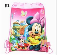 cute drawstring bag - Mickey and Minnie Double shoulder Baby Children Boy Girl Cute Cartoon School Bag Kids Drawstring Backpack JL
