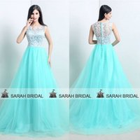 Wholesale 2015 Mint Green Prom Evening Dresses For Wedding Formal Women Girls Cheap SSJ Real Model Picture White Lace Sheer Crew Neck Tulle Ball Gown
