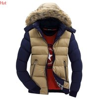 Wholesale 2015 New Mens Winter Jacket Plus Size Man Fur Hooded Padded Down Coats Winter Thickening Coat Men Slim Casual Cotton Parkas Outwear SV028400