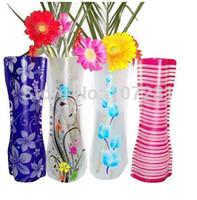 Wholesale 6Pcs Foldable Collapsible PVC Plastic Flower Vase Container Party Wedding Decor