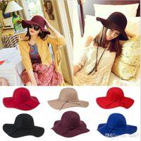 Señora de las nuevas mujeres con estilo de la vendimia con el ala ancha de lana Bowler Hat Fedora Floppy cloché casquillo de Sun del Bowknot Beach