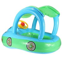 Wholesale Sunshade Baby Child Kids Swim Ring Float Chair Seat Boat Inflatable Belt Water Pool Fun Sun Protection Umbrella Blue Green