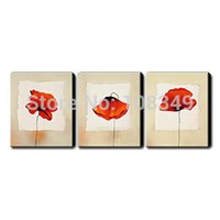 Wholesale 100 hand painted New product sell of small red flowers High Q Oil Painting on canvas x16inch set mixorde Frameless