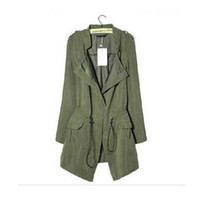belted ruffle trench - Newest Lady Autumn Thin Windbreaker Epaulet Drawstring Long Ruffle trench coat For Women ropa mujer S297