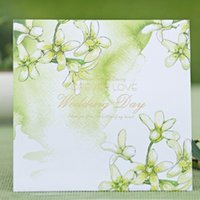 big love house - Green Wedding Invitation Card Floral Style Forever Love Big Day Invitations Personalized Marry Cards Square Style Free Printing