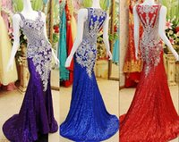 india - Real Image Crystal Luxury Evening Pageant Dresses Sequined Beads Red Royal Blue Pink Purple India Arabic Formal Party Prom Gowns Cheap