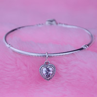 Wholesale Free Ship Sterling Silver Heart Dangle With Clear Cz ALE Stamped Fits For Pandora Jewelry Bracelets