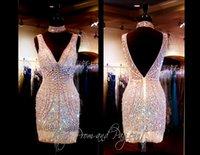 Wholesale 2014Gorgeous Charming Sheath Column Cocktail Dresses V Neck Short Beading Crystal Chiffon Prom Dresses Custom