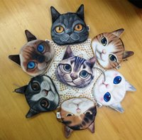 Wholesale Korean Cat Bag - 24 pcs 3D Print Cat face Coin Purse Animal Small Clutch Women Hand bag Coin holder Coins pouch Change Cosmetic Makeup Zero Wallets