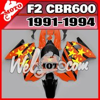 Cheap NEW really ABS fairings high quality AAA+3 free gift+Fairing Fit 91-94 CBR600RR 1991-1994 CBR 600 F2 ABS Star Orange H21W103
