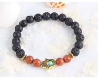 beaded string bracelet - Natural Semiprecious Lava Goldstone Hand Beaded Bangles Gold Silver Strung by Elastic Streched Men Women Bracelets Large Stock