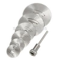 Wholesale 6 Pack Mandrel HSS High Speed Circular Saw Blades Cutting Discs Set for Drill For Dremel Cutoff