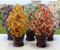 Wholesale 2015 new Crystal Lucky Gemstone Tree Moneymaker Crafts Small tower tree Decoration colors