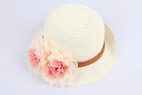 Precio de Sombrero de paja del sol-2015 verano nueva flor de Sun del bebé cabritos de los sombreros del sombrero de paja de ala del bebé muchachas de los casquillos de Sun del casquillo del sombrero del jazz del sombrero de verano para niños