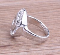 2017 Noosa botones ajustables de los anillos El anillo personalizado Rhinestone de plata de hip-hop de la boda del anillo de la joyería del día de tarjeta del día de San Valentín 2 estilos