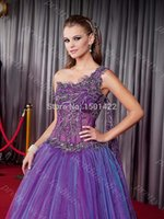 2014 Sheer Purple Prom de un hombro vestido de quinceañera apliques vestido Vestido 15 Anos Festa Debutante Celebrity Dress Red Carpet