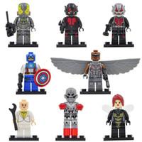 Wholesale ANT MAN Minifigures Yellow Jacket Female Wasp Falcons Super Heroes Avengers Building Blocks Sets Model Bricks Toys