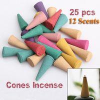 Cheap 25 Mix Stowage Colorful Fragrance Triple Scent Incense Cones Potpourri Indian Incense PTSP